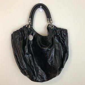 STUART WEITZMAN Black Patent Leather Hobo Purse